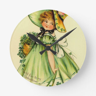 Vintage St. Patrick's Day Girl Round Wall Clock