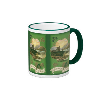 Vintage St. Patricks Day Greetings Castle Shamrock Ringer Mug