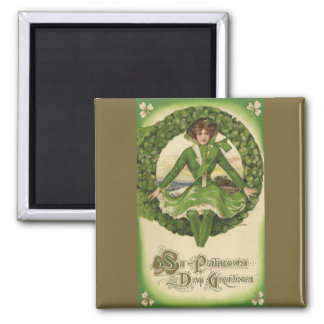 Vintage St. Patrick's Day Greetings, Clover Lassy Magnet