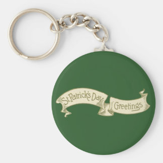 Vintage St. Patrick's Day Greetings Golden Banner Basic Round Button Key Ring