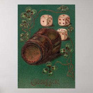 Vintage St. Patrick's Day Irish Good Luck Dice Poster