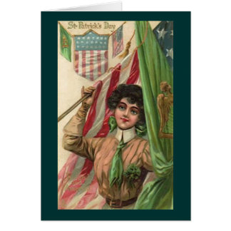 Vintage St. Patrick's Day Lady and Flag Cards