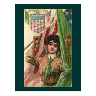 Vintage St. Patrick's Day Lady and Flag Postcard