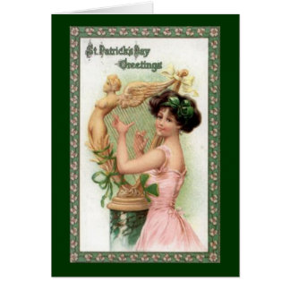 Vintage St. Patrick's Day Lady and Harp Cards
