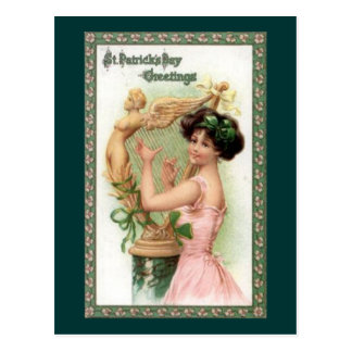 Vintage St. Patrick's Day Lady and Harp Postcards