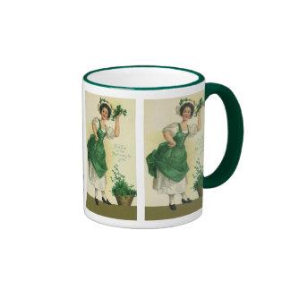 Vintage St. Patrick's Day Lass, Lucky Shamrocks Ringer Mug
