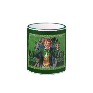 Vintage St. Patrick's Day Man in Green Mug Ringer Mug