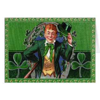 Vintage St. Patrick's Day Man in Green Postage Card