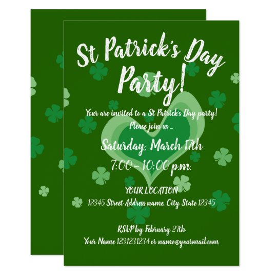 Vintage St Patrick's Day party invitation template