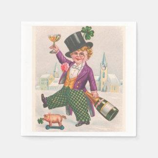 Vintage St Patricks Day Shamrock Champagne Disposable Serviette