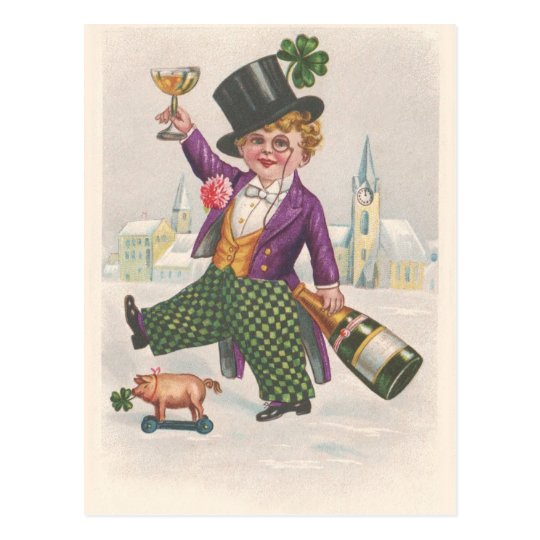 Vintage St Patricks Day Shamrock Champagne Postcard