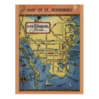 Vintage St. Petersburg Florida Map Postcard