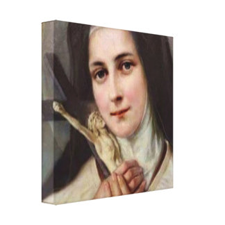 Vintage St.Therese Little Flower Crucifix Canvas Print