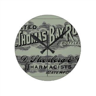 Vintage St. Thomas Bay Rum Advertising Logo Label Clock