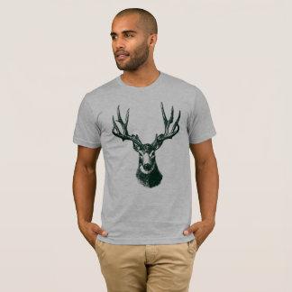 Vintage Stag Black and White Illustration T-Shirt