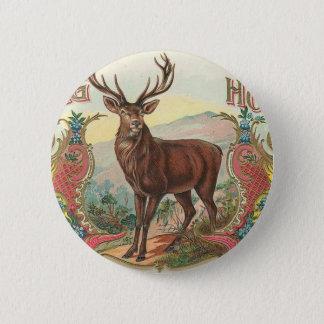 Vintage Stag Horn Buck Label Art 6 Cm Round Badge
