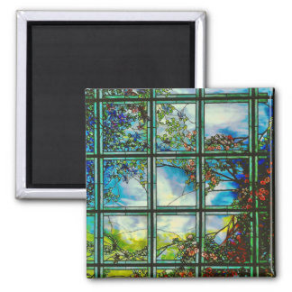 Vintage Stained Glass Window Scenic Landscape Magnet