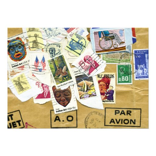 Vintage Stamp Collage Farewell Party Invitation