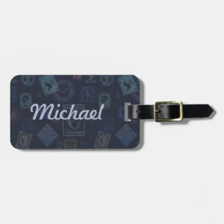 Vintage Stamp Luggage Tag - Dark