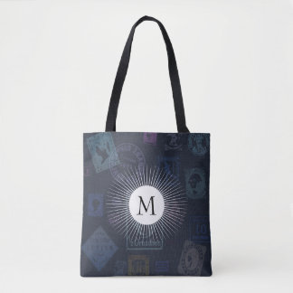 Vintage Stamp Tote with Initial Tote Bag