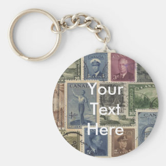 Vintage Stamps Collage Basic Round Button Key Ring