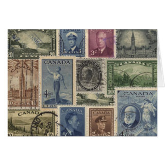 Vintage Stamps Collage Greeting Card