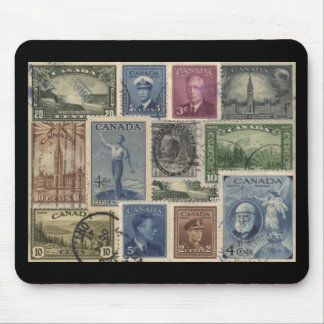Vintage Stamps Collage Mouse Pad
