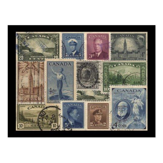 Vintage Stamps Collage Postcard
