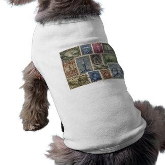 Vintage Stamps Collage Sleeveless Dog Shirt