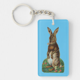 Vintage Standing Bunny Single-Sided Rectangular Acrylic Key Ring