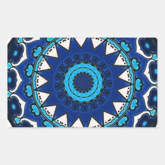 Vintage star motif  Ottoman Turkish tile design Rectangular Sticker