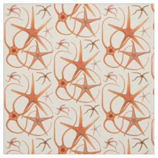 Vintage Starfish Illustration Fabric