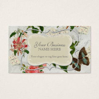Vintage Stargazer Lily Rose Butterfly n Hydrangea Business Card