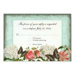 Vintage Stargazer Lily Rose Butterfly n Hydrangea 9 Cm X 13 Cm Invitation Card