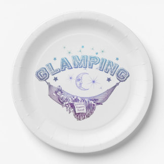 Vintage Starry Glamping Hammock Lady 9 Inch Paper Plate