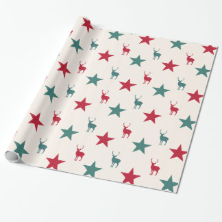 Vintage Stars and Reindeer Wrapping Paper