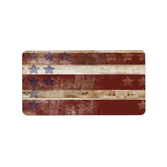 Vintage Stars And Stripes Pine Wood Pattern Label