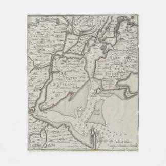 Vintage Staten Island & NYC Harbor Map (1733) Fleece Blanket