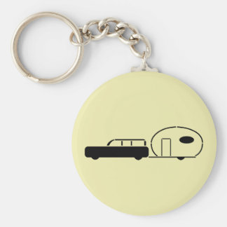 Vintage Station Wagon and RV Trailer Basic Round Button Key Ring