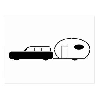 Vintage Station Wagon and RV Trailer Postcard