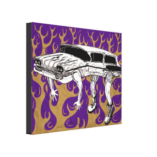 Vintage Station Wagon With Flames Artwork. Canvas Print