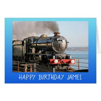 Vintage steam engine happy birthday personalised card