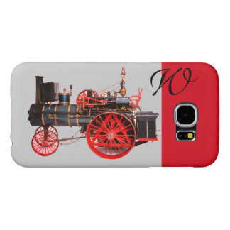 VINTAGE STEAM LOCOMOTIVE MONOGRAM Red Grey Samsung Galaxy S6 Cases