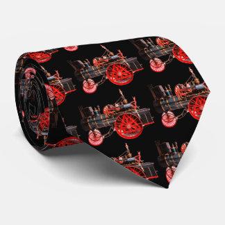 VINTAGE STEAM LOCOMOTIVE Red Black Tie