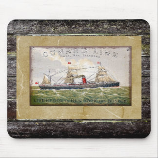 Vintage Steam Ship Cunard Line Mail Boat Mouse Pad