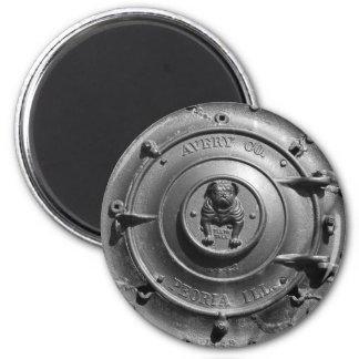 Vintage Steam Tractor Front. 6 Cm Round Magnet