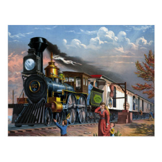 Vintage Steam Train at Station illustration Postcard