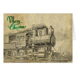 Vintage Steam Train Christmas Card