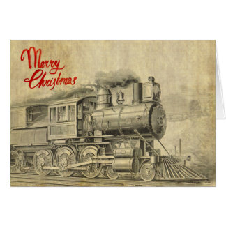 Vintage Steam Train illustration Christmas Card