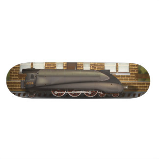 Vintage Steam Train in Station Skate Board Deck